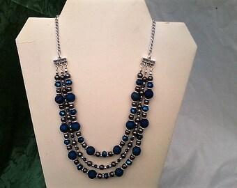 Dk.Blue Hematite Dk.AB Crystal Pewter necklace