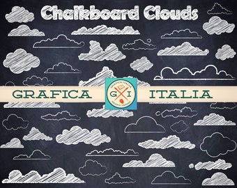 Chalkboard Cloud ClipArt - Royalty-Free Chalk Clouds Clip Art - Digital Download High-Resolution Transparent Background Printable PNG Images