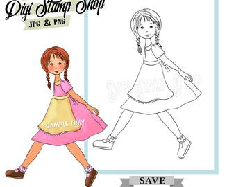 Girl with Apron Stamp, Digital Stamp, Apron Girl Stamp, Digi Stamp, Girl Stamp, Color In Page, Card Design, Lineart, Chores stamp,