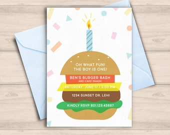First Birthday Burger Party Invitation, Confetti One Year Old Birthday Party Invitation, Hamburger Party Invite