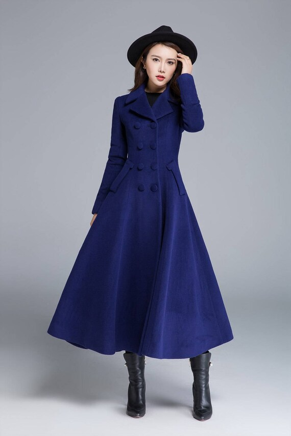 coat buttoned coat wool Long coat pleated coat breasted 1685 blue coat winter wool coat coat coat fitted double flare coat Pxaq1Zwa