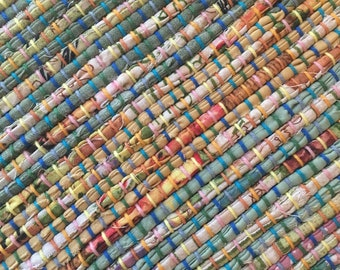 "Hand Woven Table Runner Spring Patchwork 15"" x 40"""