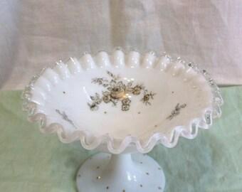 Vintage Milk Glass Silvercrest Pedastal Painted Candy Dish