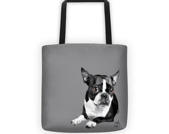 Boston Terrier Tote Bag, Dog Lover, Custom Color, Vector Art, Great for Market Shopping Beach or Pet Owner Gift