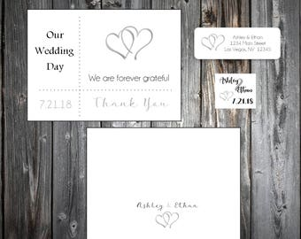 100 Hearts Wedding Thank You Notes