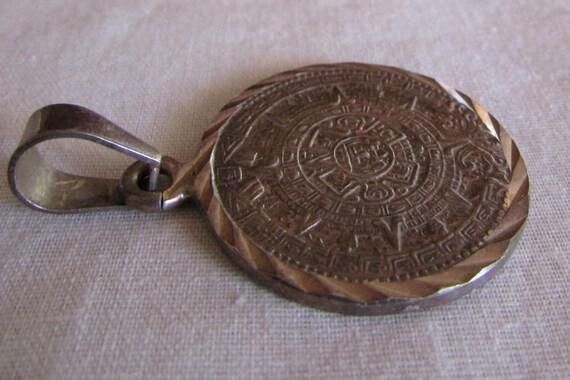 Sterling silver aztec calendar pendant aloadofball Image collections