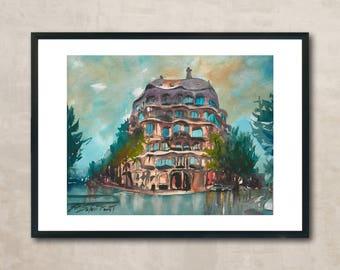 La Pedrera, Barcelona /Antoni Gaudí/watercolor print/Ramon Soler Fornt