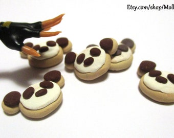 Handmade polymer clay panda cookies dollhouse miniature food 1:6 scale