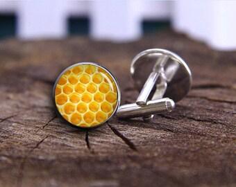 Honey Cufflinks, Honeycomb Cuff Links, Bee Cufflinks, Silver Plated Bee Cuff Links, Accessories For Men, Men Jewelry, Honey Comb Orange Gift