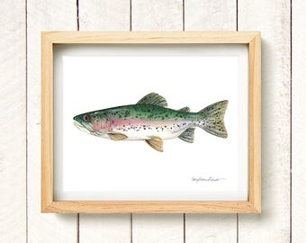 Rainbow Trout - watercolor art print 8.5x11""