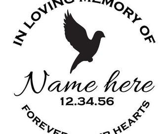 Custom Memorial Flying Dove Vinyl Decal
