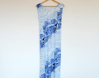 Vintage Oversized Sleeveless Nature By Rain Scenery Print Loose Tie Waist Maxi Tent Dress