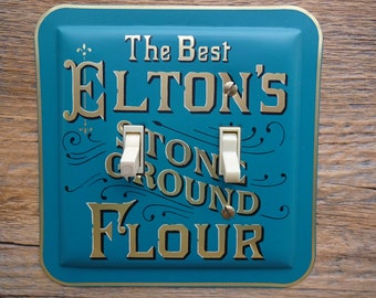 Teal Blue Kitchen Decor Lighting Double Light Switch Cover Plate Made From A Vintage Eltons Stone Ground Flour Tin SP-0398