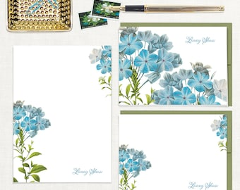 complete personalized stationery set - FORGET ME NOTS - custom notecards - flower notepad - floral stationary