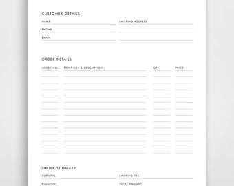 Order Form TEMPLATE with Photos Printable 8.5 x 11 Form