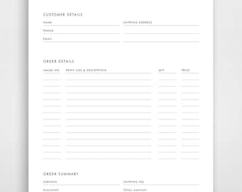 Charming Order Form Template, Photography Order Form, Order Form Printable, Order  Form Photography,