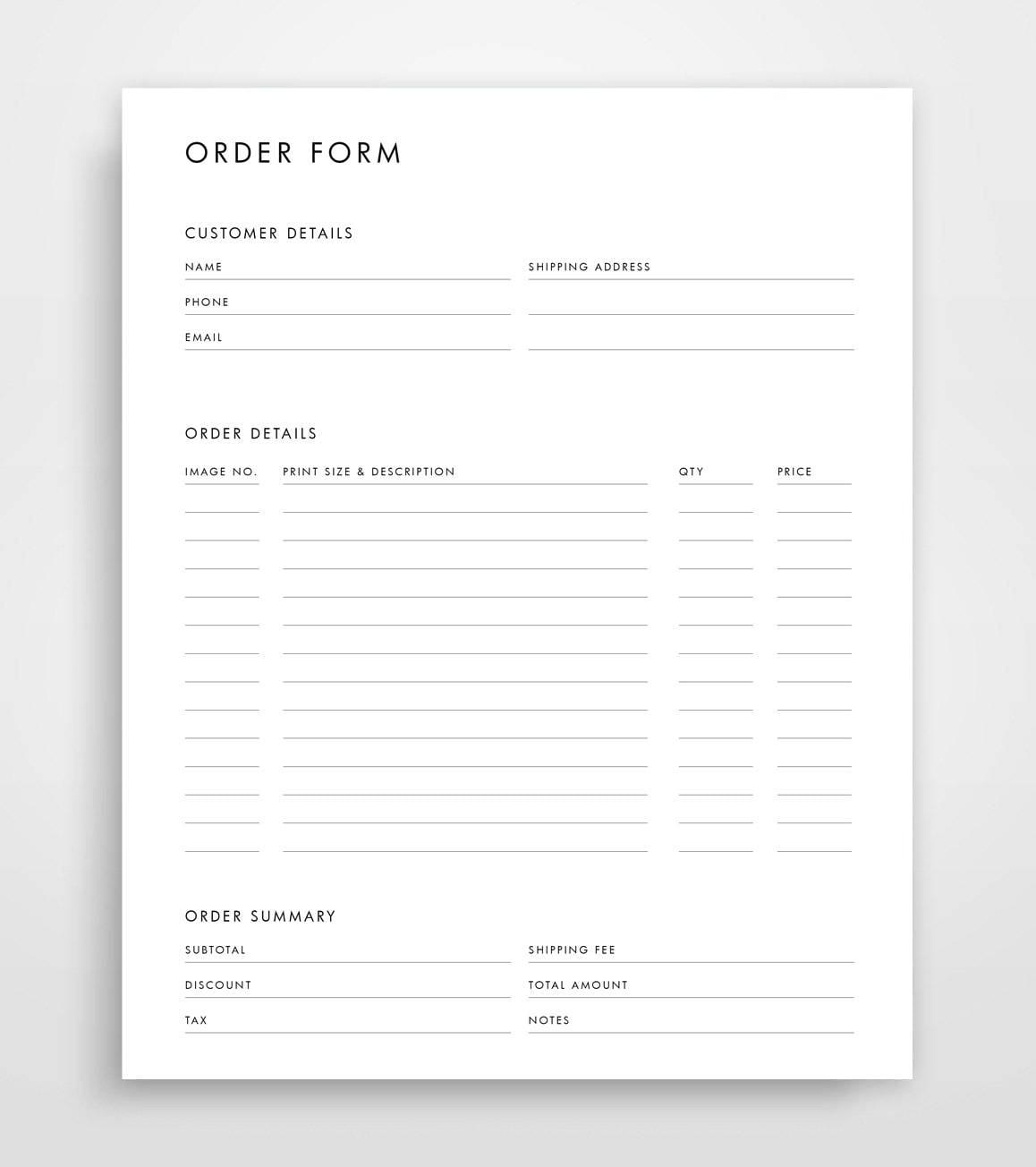 Bestellung-Formular-Vorlage Fotografie Bestellformular
