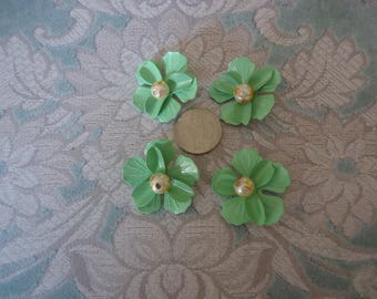 "Vintage 1 1/4"" Painted Steel Flower Finding w/ Faux Pearl Center, Light Green, Jewelry Design, Craft Supply, Back Loop - 3PC"