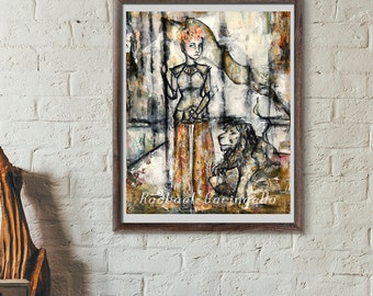 11x14 Giclée Art Print - Warrior Woman  -  Large Mixed Media - Woman and Lion Painting