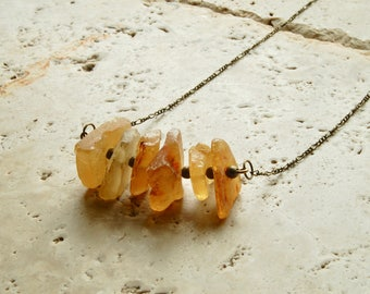 Raw Baltic Amber long layering necklace adult necklace stone mineral gemstone bohemian boho chic healing crystal reiki metaphysical