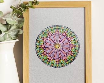 Colorful Silver Mandala Instant Digital Download
