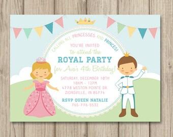 PRINCESS and PRINCE BIRTHDAY Party Invitation, Princess Birthday Party Invitation, Princess Party, Princess Invitation, Printable 5x7