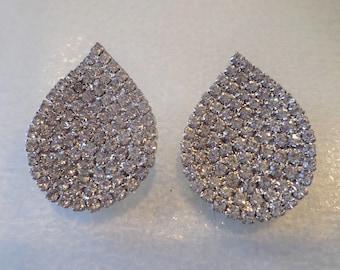 Vintage Art Deco Silver Tone Clear Glass Rhinestones Pierced Earrings.