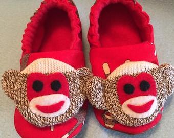 Child's Sock Monkey Slippers fleece lined Non-slip sole