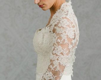 Long Sleeve Wedding Gown Topper - Wedding Gown Topper - Long Sleeve Bolero - Catherine