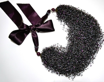 Ultra violet Wedding necklace Crochet beaded necklace boho  multistrand airy necklace Beaded Purple necklace Elegant jewelry Purple necklace