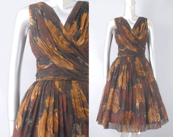 Chocolat silk floral chiffon dress | vintage 1950s floral dress | vintage chiffon dress