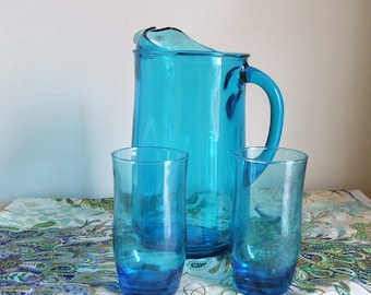 Vintage Blue Glass Water Pitcher And Tumblers.