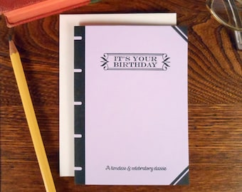 letterpress it's your birthday book cover greeting card timeless & celebratory classic pastel purple book lover