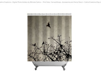Shower Curtain Sepia Gray Cedar Waxwings Birds in Flight Tree Branches Monotone Photo Shower Curtain and Print or Gallery Wrapped Canvas set