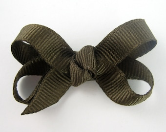 Baby Hair Bow in Brown - Extra Small Boutique Bow On Mini Snap Clip for Fine Hair Newborn to Toddler - Non Slip Barrette mm