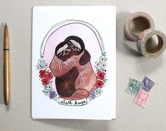 Love Card - Sloths - Sloth Card - Greeting Card - I Love You Card - Blank Card - Friendship Card - Get Well Card - Sloth Hugs