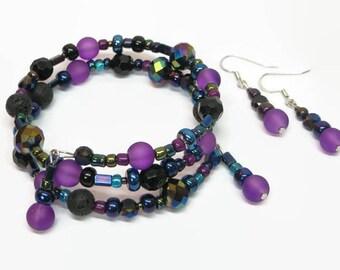 Purple/Black Oil Diffuser Bracelet, Boho Lava Rock Wrap Bracelet, Boho Aromatherapy Wrap Bracelet, Lava Rock Memory Wire Bracelet