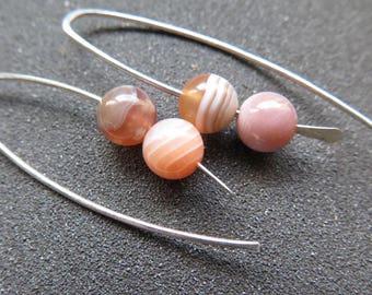 orange agate earrings. natural stone jewelry. made in Canada