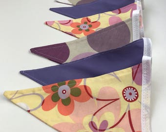 Floral and Spots Bunting - 9 Flags - Handmade Fabric - Yellow Purple