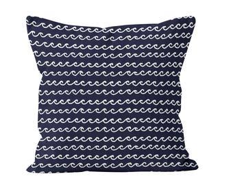 45 colors Nautical Navy Ocean Waves Pillow Cover, Coastal living home decor, navy blue decorative pillow cover, beach ocean decor