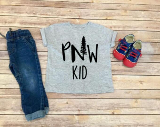 PNW Kid Shirt - Pacific Northwest - Kid Clothing - Toddler Shirt  - Unisex Toddler Clothing - Gift for Kid - Mountains - Evergreens
