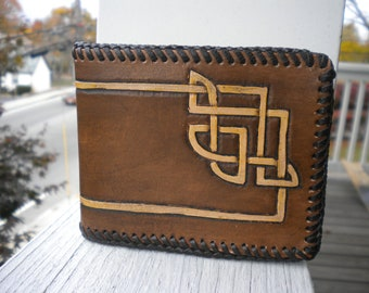 Hand Tooled Leather Wallet - Celtic Knot - Leather Wallet -Leather Bifold - Removable ID Case