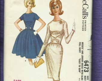 1960's McCalls 6473 Mid Century Fitted Bodice Wiggle & Bubble Dresses  Size 14