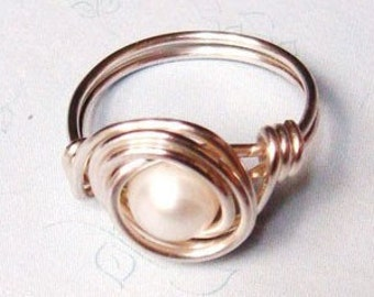 Sterling Silver Ring, Pearl Ring, White Freshwater Pearl, Sterling Silver, Wire Wrapped Ring, White Pearl