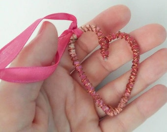 Valentine's Day heart/hanging heart/rear view mirror/key chain heart/wire heart/pink heart/sweetheart gift/wedding gift