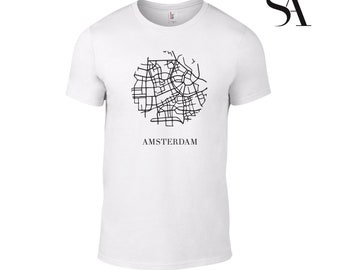 Mens Amsterdam Street Map Tshirt Travel, Holiday, Europe, Holland - Free UK Shipping