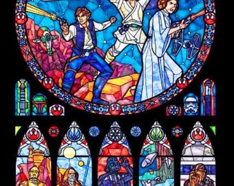 BUY 2, GET 1 FREE! Star Wars Stained Glass 030 Cross Stitch Pattern Counted Cross Stitch Chart, Pdf Format, Instant Download /231358
