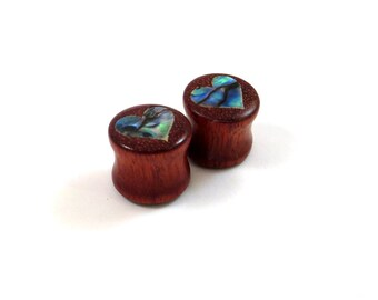 """Abalone Heart on Bloodwood Inlay Plugs - PAIR - 0g (8mm) 00g (9mm) (10mm) 7/16"""" (11mm) 1/2"""" (13mm) 9/16"""" 14mm 5/8"""" 16mm and up Wooden Gauges"""