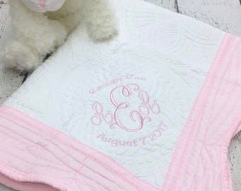 Monogrammed baby quilt, Monogrammed baby blanket, Keepsake baby blanket, baby quilt with birth stats, Baby gift