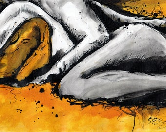 Nude art 8x12in painting on canvas - sexy abstract art - cuddling couple